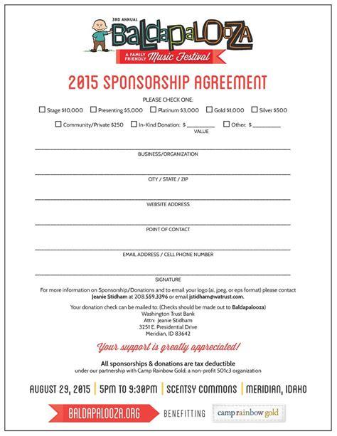 non profit sponsorship agreement template baldapalooza simplebooklet