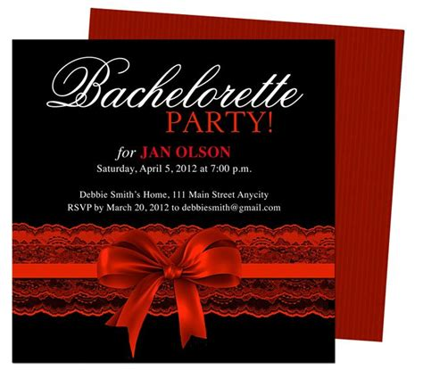 garter templates bachelorette invitations templates scarlet