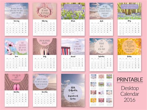 printable calendar quotes printable desktop calendars for 2016 now in my etsy shop