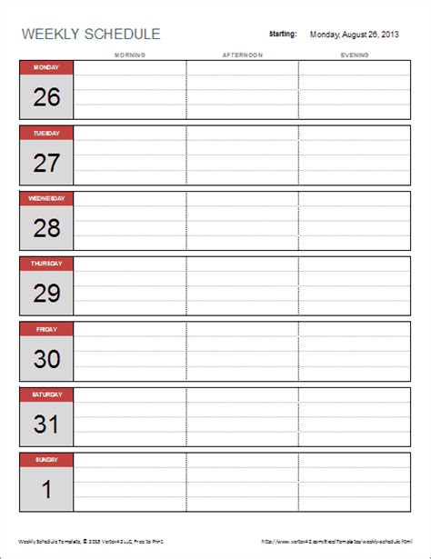template for a weekly schedule free weekly schedule template for excel