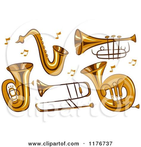 Brass Instruments Clipart of brass instruments and notes royalty