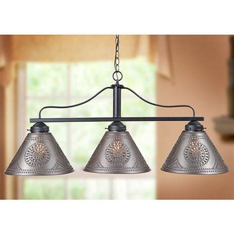 BAR ISLAND LIGHT Large Wrought Iron Fixture with Punched