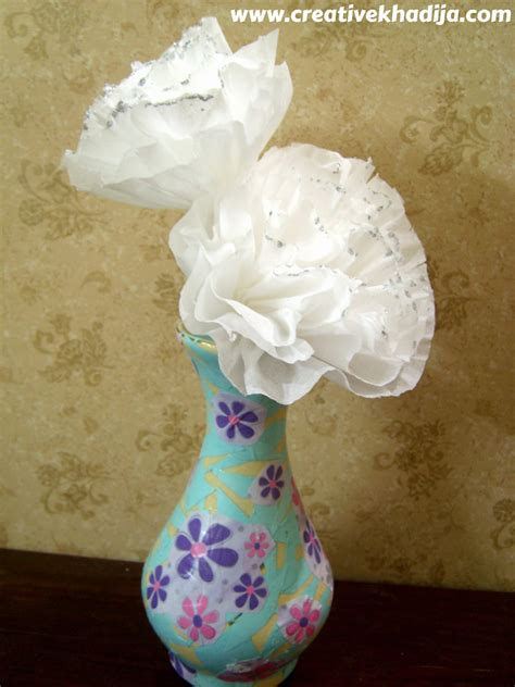 How To Decoupage A Vase - tissue paper flowers