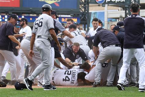 bench clearing baseball benches clear 3 times 8 ejections during tigers yankees