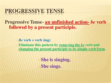 pattern of present progressive tense be verb pattern elimination