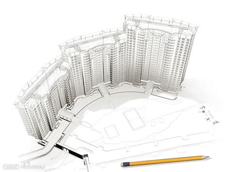 drawing with 3d house stock illustration image of 3d建筑物与平面图设计图 建筑设计 环境设计 设计图库 昵图网nipic com