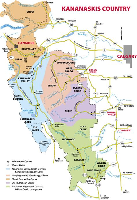 country map map of kananaskis country in the canadian rockies