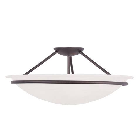 3 Light Semi Flush Mount Ceiling Fixture Livex Lighting Providence 3 Light Ceiling Bronze Incandescent Semi Flush Mount 4825 07 The