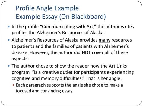 Exle Of A Profile Essay by Essay 1 Lecture