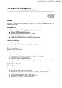 journeyman electrician resume template resume exle 38 electrician resume objective