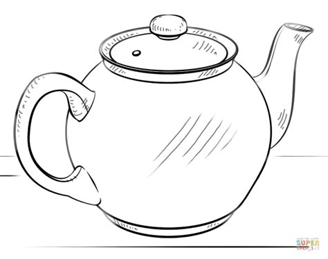 Tea Pot Shape Coloring Pages Teapot Coloring Page