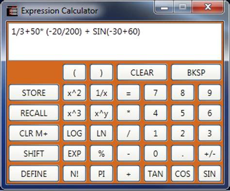 mathematical expression parser using recursive descent
