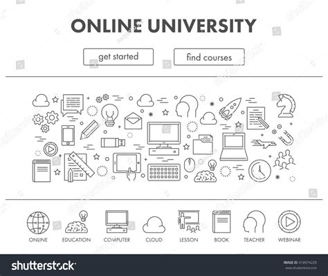 design online university outline design concept web banner online stock