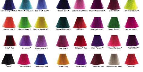 manic panic hair color chart manic panic hair color chart hair dye swatches