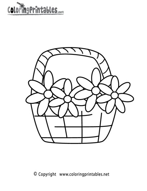 basket of flower coloring pages