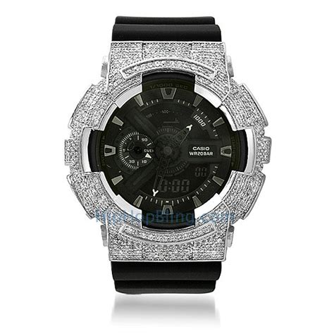 custom rhodium cz casio g shock ga100 custom g