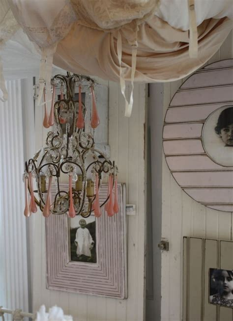 Cristal Chandeliers Vintage Italian Beaded Chandelier With Pink Crystal Drops
