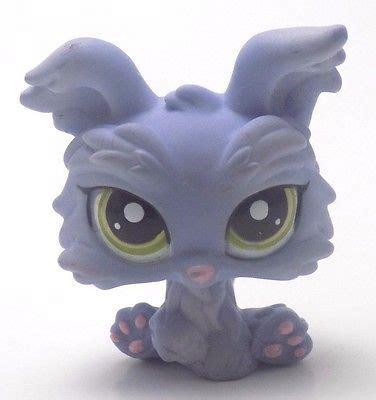 lps yorkie littlest pet shop lps plum purple white blue bull terrier 2448 what s