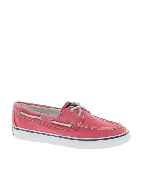 sperry top sider bahama 2eye canvas boat shoes in white lyst