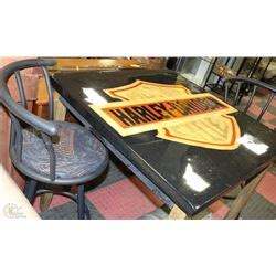 solid wood harley davidson bar table with 2
