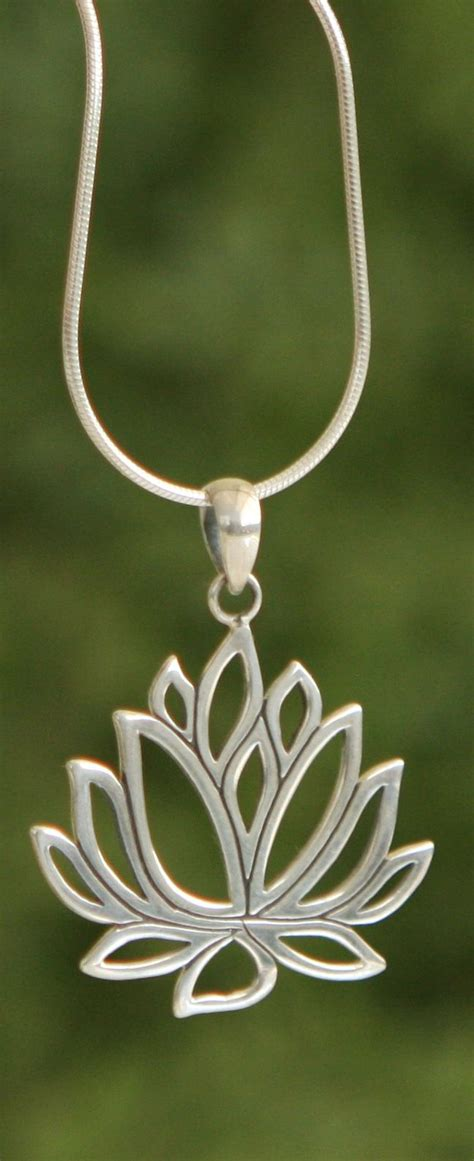 lotus design indonesia sterling silver cut out style lotus pendant pendants