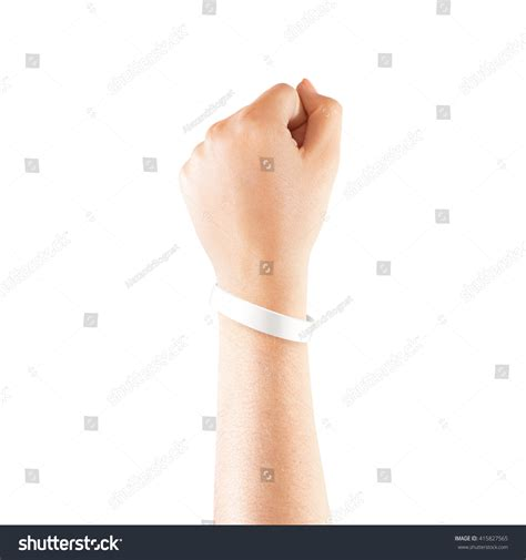 Hand Tattoo Mock Up   blank white rubber wristband mockup on hand isolated