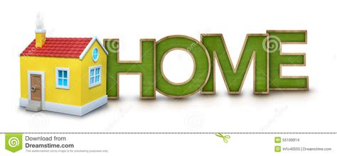 home text with 3d house stock illustration image 55199914