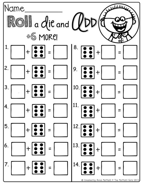 free printable dice addition worksheets roll the die and add 6 more kinderland collaborative