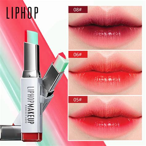 Lipgloss Korea aliexpress buy liphop brand lip gloss lipstick makeup 8 color gradient color korean style