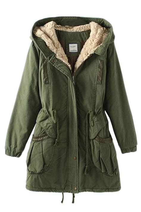 Jaket By Mr Cloth green vintage warm winter tunic hooded womens parka coat