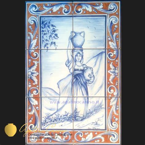 piastrelle siciliane decorate pannelli ceramica di caltagirone dipinti a mano contadina