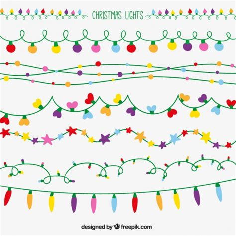 christmas lights set vector free download
