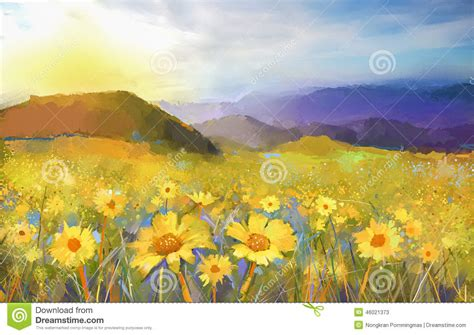 Dannis Sarimbit D Sun Flower flor da flor da margarida pintura a 243 leo de uma paisagem