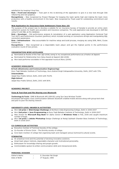 resume format two year sle resume format for 2 years experience in testing