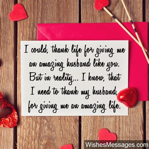 day wishes for husband sweet thank you note for husband valentines day card