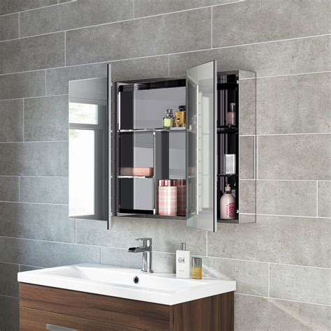 Bathroom Storage Mirrored Cabinet Bathroom Mirror Storage Unit Wall Mirrored Cabinet Mc111 163 119 99 Picclick Uk