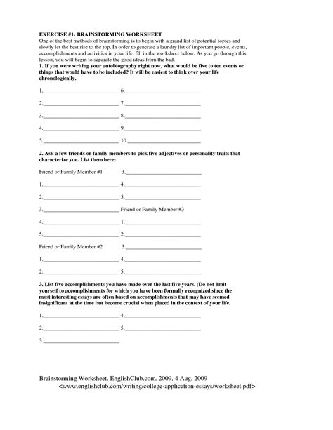 Brainstorming Sheets For Essays by 18 Best Images Of Brainstorming Worksheets Brainstorming Worksheet Personal