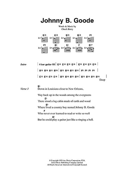 lyrics chuck johnny b goode sheet by chuck berry lyrics