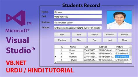 visual studio tutorial in hindi how to create students record form in visual basic net ms