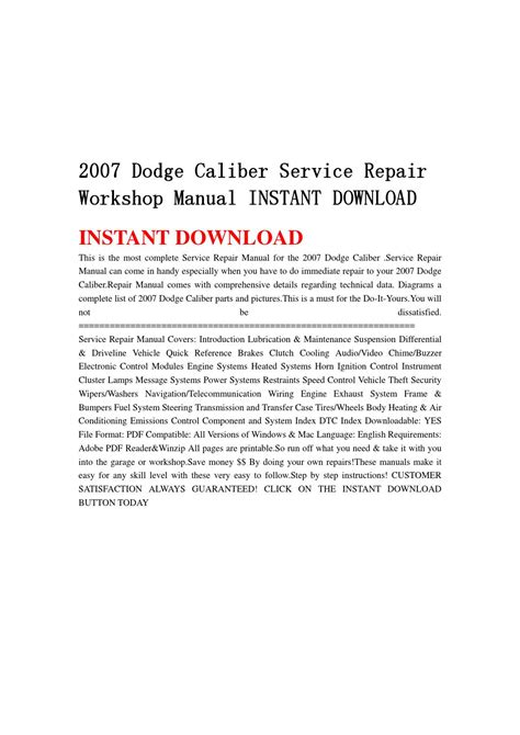 free download parts manuals 2009 dodge caliber electronic toll collection 2007 dodge caliber service repair workshop manual instant download by kmsjefhn issuu