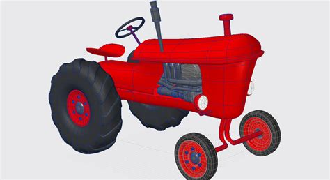 Funny Kitchen Gadgets Vintage Red Tractor For Farming 3d 3d Model Max Obj 3ds