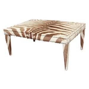 custom coffee cocktail table upholstered in vintage zebra