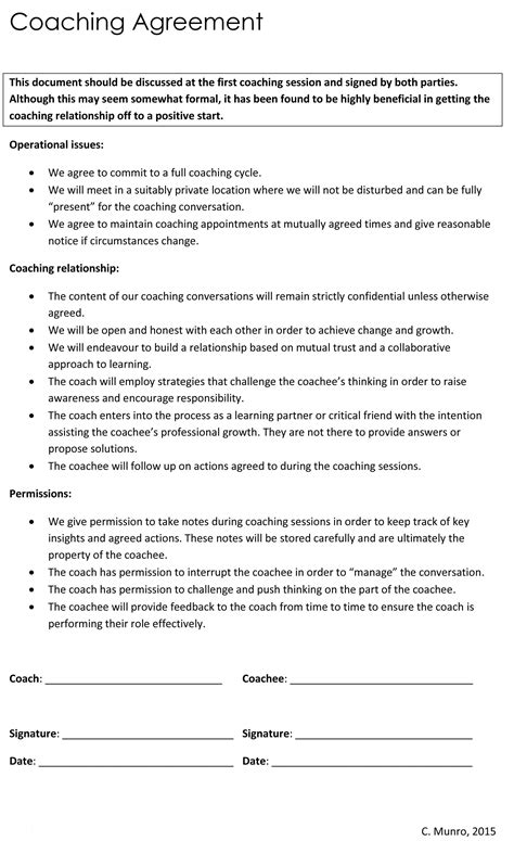 Coaching Agreement Business Coaching Contract Template Coaching Agreement Templates Sle Coaching Confidentiality Agreement Template