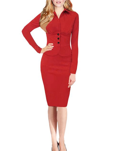 Dress For Button button turn collar pencil sheath dresses