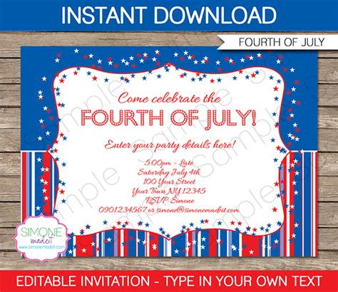 fourth of july party invitations template 4th of july party