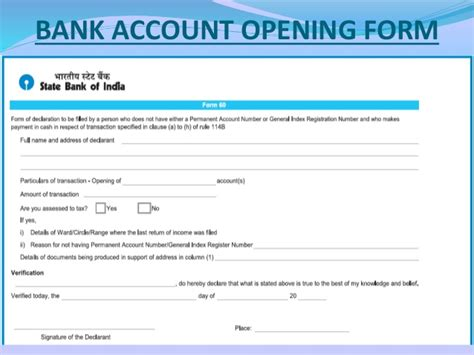 Bank Account Opening Documents