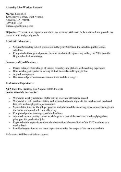 sle resume for assembly line operator assembly line operator resume sle krida info