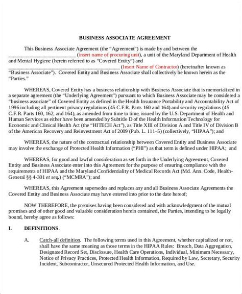 cover letter business associate agreement agreement letter exles