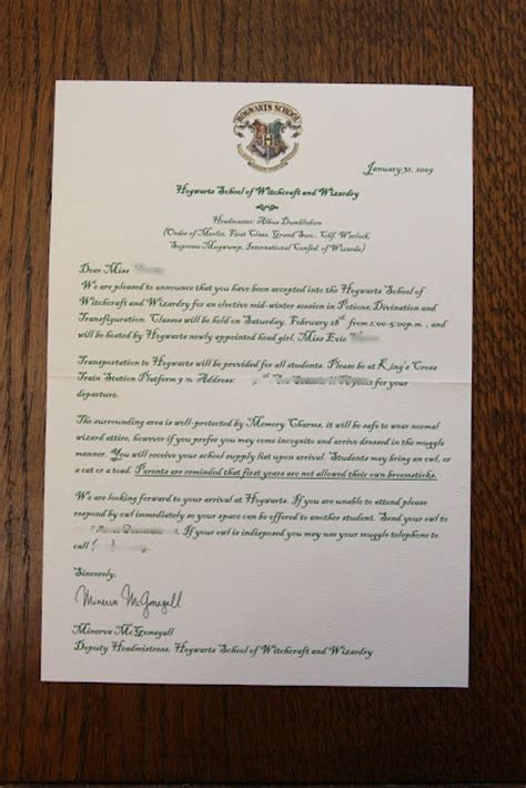 Acceptance Letter For Cus Invitation 17 Best Images About Hogwarts Acceptance Letter On Trips Shops And Hogwarts