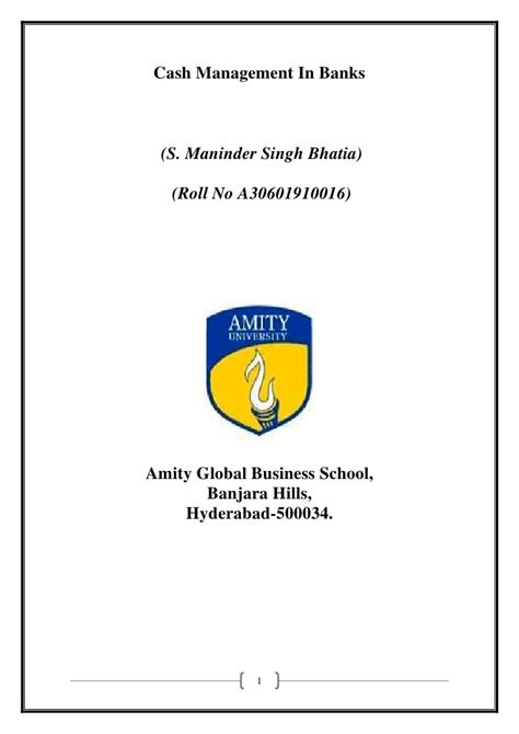 Amity Mba Project Synopsis by Synopsis